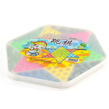 EDC Pocket-size Travel Button Chess Traditional Hexagon Wooden Chinese Checkers Family Game Set Easy Carry Souvenirs