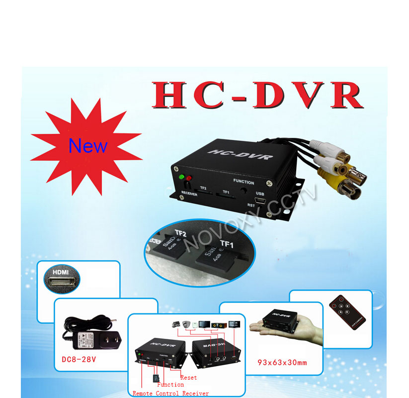 Free shipping 1 channel mini dvr H.264  720p HDMI Ouput  support Dual TF card Max 128G  System Real Time security cctv dvr<br>