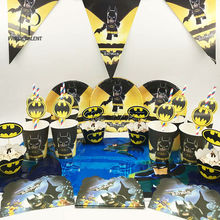 Party supplies 50pcs for 8kids  Batman birthday party tableware set, plate+cup+straw+tablecover+banner+wrapper+invitation