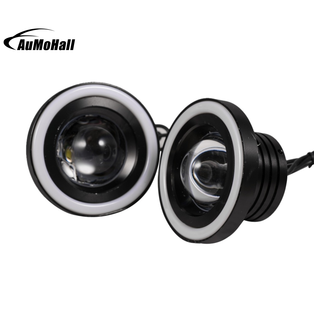 2x 3.6 Inch Car Projector LED Fog Light COB Colorful Halo Angel Eye Ring Bulb Lamps<br>