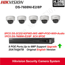 Hikvision Security Camera System 4MP IP Camera 5pcs DS-2CD2142FWD-IWS Wifi Camera Audio POE IP67with 8ch POE NVR DS-7608NI-E2/8P(China)