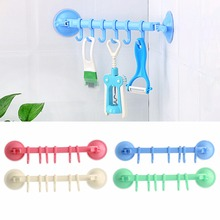 Bathroom Kitchen Utensil Powerful Vacuum Suction Cup Hanger With 6 Hooks Decoration