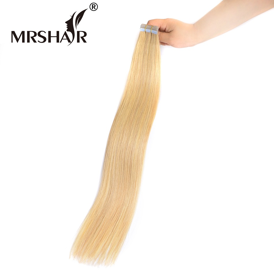 "MRSHAIR 24# Skin Weft Hair Extensions 16"" 18"" 20"" 22"" 24"" Dark Blonde Human Hair On Tape 20pcs Dark Blonde Seamless Tape In Hair(China (Mainland))"