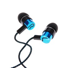 Fashion MP3/mp4 Roping Stereo Subwoofer Earphone In Ear Earbud Reflective Fiber Cloth Line Metal Earphone 1.1M