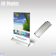 50PCS A4 Size Mini Desktop Aluminum Double Side Roll Up Banner Display Stand,Advertising Table Model Retractable Pull Up Banner