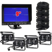 DIYSECUR DC 12V - 24V 9Inch Split QUAD Monitor + 4 x CCD IR Night Vision Rear View Camera Waterproof Monitoring System