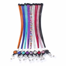 New Fashion Bling Rhinestones Leather Neck Strap Lanyard Retractable Badge Reel with Breakaway Safety Clasp 31.5 inches(China)