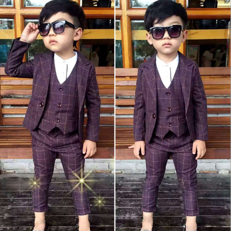 2018 New Single Breasted Boys Suits &amp; Blazers 3PCS Coats + Plaid Vest +Suit Pants for Boys Wedding Wear Kids Clothing 3sb002<br>