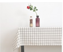 1PC Modern White Black Check Linen Cotton Fresh Geometric Table Cloth Home Store Party Table Decoration Photo Prop