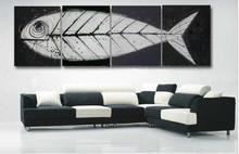 Retro hand made big oil paintings 4 piece Fish bones Fossil canvas art white black modern home decorative art sets on the wall