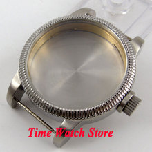 Corgeut 46mm Fit 6497 6498 movement screw back sandblast stainless steel Watch Case C96