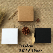 50PCS 7X7x3CM Natural Craft Paper Box Gift Box Wedding Favor Candy Box Marriage Embalagem Baby Party Packaging for Soap(China)