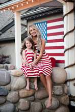 2017 Family Look Mother And Daughter American Flag Dress Newborn Girls Brush Clothes Children And Parents Summer Sarafans