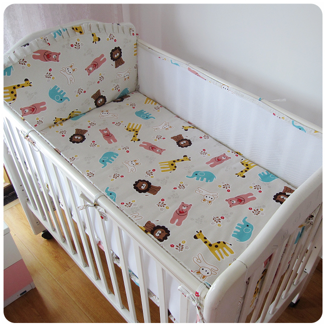 Promotion! 5PCS Mesh Kitty Baby Bedding Set Cotton Cot Bumper Baby Crib Bedding Set,include(4bumpers+sheet)<br><br>Aliexpress