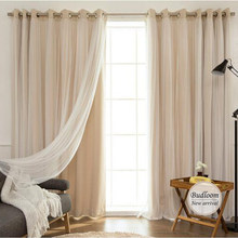 Korean Style Solid Modern Curtain Tulle Window Set Of Mint Pink Beige Blackout Sheer Curtain For Living Room Bedroom(China)