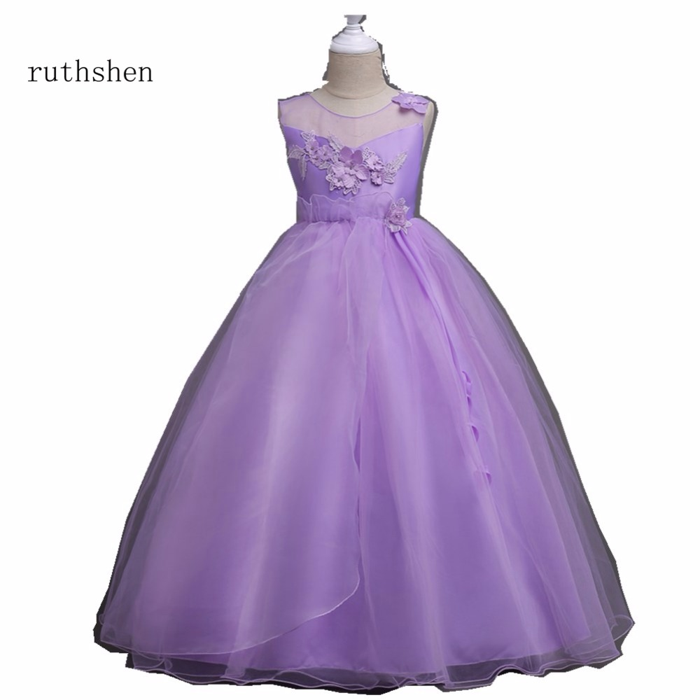 ruthshen Charming Dresses For Girls 2018 Real Photo Flowers Ruffle Flower Girl Dresses Vestidos De Comunion Cheap Newest Style