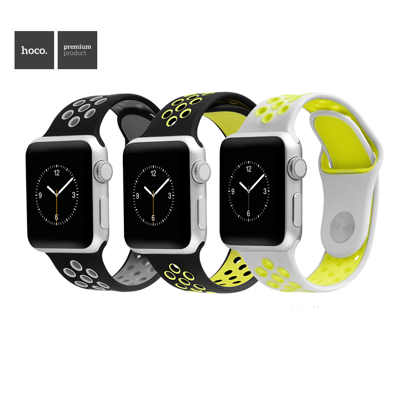 HOCO Sports Rubber Wrist Strap For Series 2 Apple Watch Silicone Breathable Watch Band For iWatch 2nd 1st Bracelet 38mm 42mm<br><br>Aliexpress