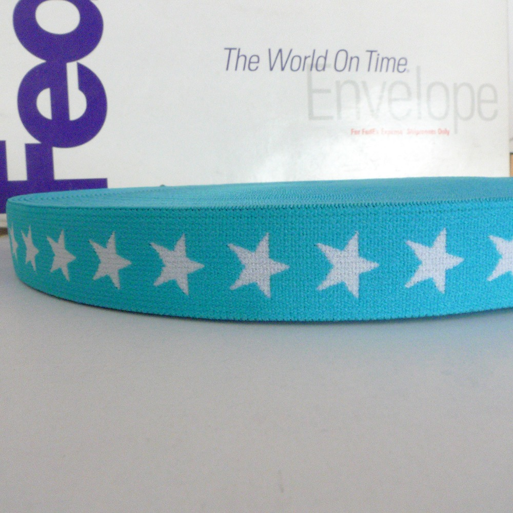 27 Yards 3/4'' 20mm BABY BLUE COLOR Star Print Jacquard Underwear Elastic Tape(China)