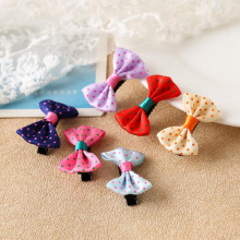 Hot Sale children's hair Sale  bow hair clips, dot decoration, handmade fabric, storage and purchase of wholesale manufacturers