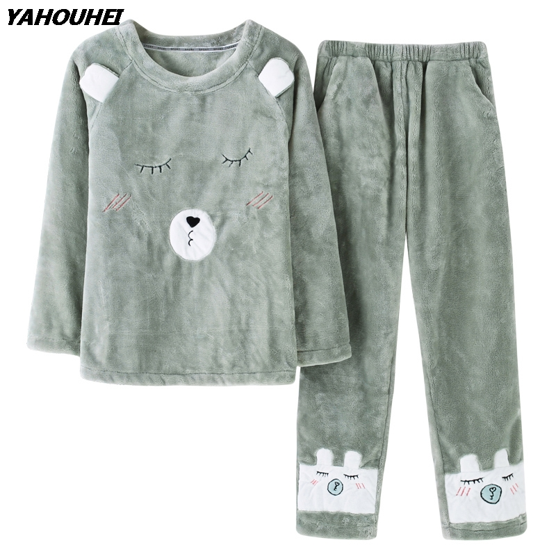 High Quality Women Winter Thick Warm Flannel Pajama Sets Long Sleeve Coral Velvet Pyjama Cartoon Sleepwear Homewear Pijama Mujer