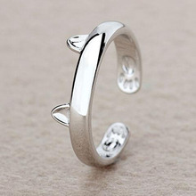Silver Plated Cat Ear Ring Design Cute Fashion Jewelry Cat Ring For Women and Girl Gifts Adjustable charms Anel GSZR0064(China)