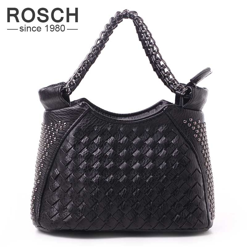 New Brand Design Handmade Rivet Women Handbags High Quality Black Leather Shoulder Bags Knitting Small Chains Office Party Totes<br><br>Aliexpress