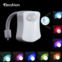 Elecshion Led Toilet Night Light Auto Human Motion Sensor PIR Bathroom Battery 8 Colors RGB Bowl Projector 3d Novelty Lamp
