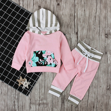 Spring Autumn Children's Clothing Set Baby Girls Pink Sweater Hoodie Roses Pocket Cotton Striped Hat Overalls For Newborn Grils(China)
