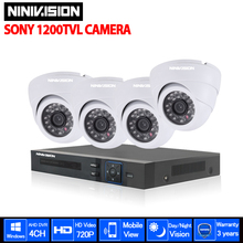 4CH video Surveillance System 720p 1080P HDMI USB 3G WIFI 4 channel CCTV System 4PCS SONY 1200TVL 1.0MP security Camera System(China)