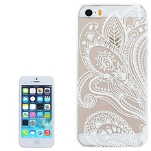 New For iPhone 5 / iPhone 5S Phone Cases Ultra-Thin Simplism Chinese Paper Cutting Style Transparent PC Back Protective Cover(China)