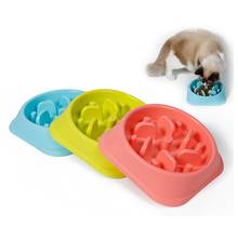 Plastic Pet Feeder Anti Choke Dog Bowl Puppy Cat Slow Down Eatting Feeder Healthy Diet Dish Jungle Design Pink Blue Green(China)