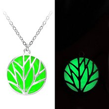 2 Colors Glowing Fairy Necklace Engrave Tree Leaves Roundness Shape Glow in the Dark Charm Pendant Necklace