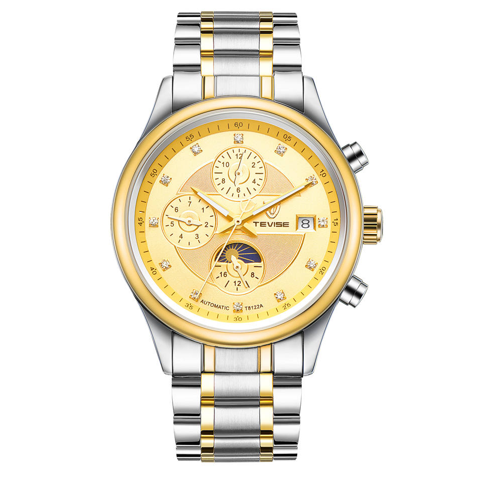 Casual Tevise Mens Day/Month Moonphase Auto Mechanical Watches Wristwatch Gift Box Free Ship<br>
