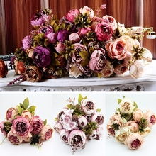 Peony Silk Flower 10Head of Bouquet Vintage Artificial Peony Silk Flower Room Wedding Floral Decor(China)