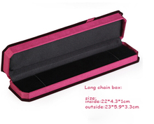 LEMOER 23*5.9*3.3cm Wholesale Fashion Red Rectangle Velvet Long Chain Jewelry Box Wedding Gift Packing Display Box Case