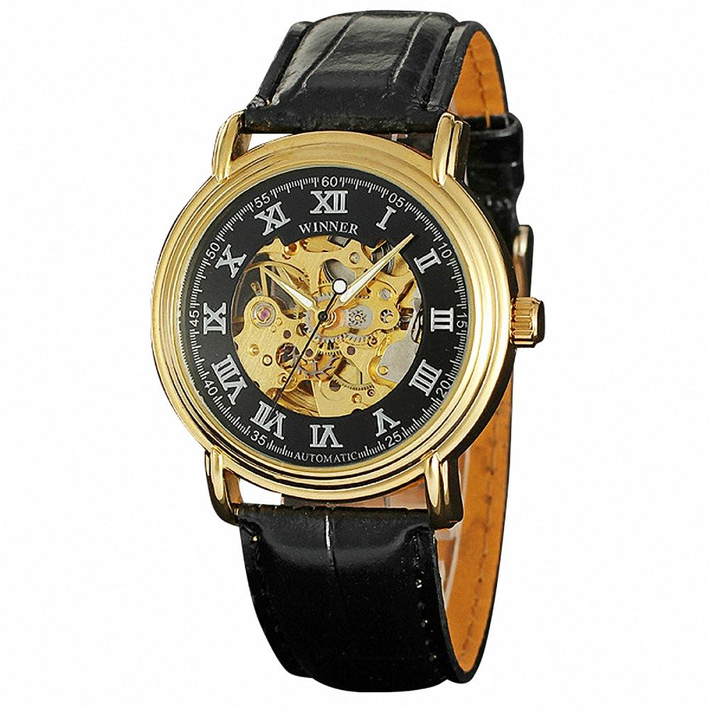 Men Noble Dress Automatic Mechanical Wrist Watch Leather Band Transparent Dial Skeleton Movement Roman Number + BOX<br><br>Aliexpress