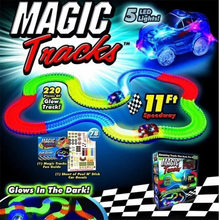 Dropshipping 165/220 Pcs Magic Glow Racing Track Set  Educational Car Toy for Children Boys With Led Car Color Box