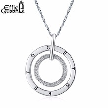 Effie Queen New Round Double Circles Pendant Long Necklace Women White Gold Chain Fashion Jewelry Wholesale Gift DN127