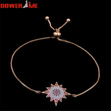 Free Shipping Dower me Turkish Ethnic Stainless Steel Star Color Crystal Charm Bracelet 4 colors 23 cm Telescopic Snake Chain