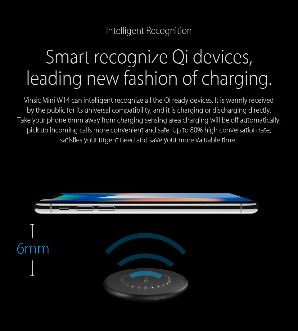 Vinsic Mini W14 Qi Wireless Charger Charging Pad for iPhone 8/8+ iPhone x Samsung Galaxy S7 S6 Edge Note 5 Qi enable Smartphone 3
