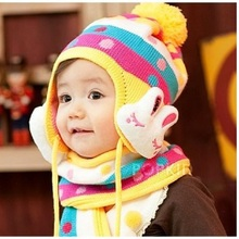 Rabbit Baby Girls Crochet Hat Infant Scarf Set Kids Cap Beanie Beret Children Winter Ear Bucket Hats Caps photography props(China)