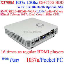 OEM smallest mini pc x86,micro computer with wifi 12v intel 1037u dual core 1.8GHz 8G RAM 750G HDD