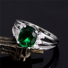 SHUANGR Silver-Color Ring AAA Green Cubic Zirconia Sparking party finger rings US Size TF341/F343/F344/F345/F347