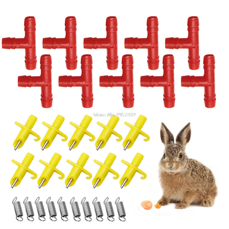Lot of 10 sets Nipple Drinkers Water Waterer For Rabbit Bunny Mouse Rabbit