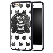 black cats bring luck quote Printed Phone Case Skin For iPhone 6 6S Plus 7 7 Plus 5 5S 5C SE 4 4S Rubber Soft Cell Housing Cover