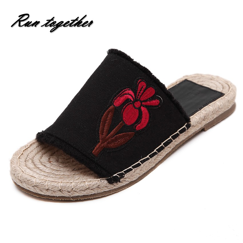 New summer fashion casual women flat slippers sandals shoes woman canvas straw hemp rope fishmen lazy embroidery sandals<br><br>Aliexpress
