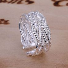 R023 Wholesale 925 jewelry silver plated ring, 925 jewelry silver plated fashion jewelry ring Small Web Ring-Opened