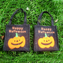 Free shipping,Halloween props embroidered  pumpkin black halloween handbags candy tote bag  17cm*14.5cm*4cm