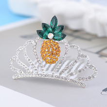 2017 Newest 1 PC Rhinestone Pineapple Hair Clip Women Crystal Hair Ornament fruit Clip Summer Jewelry Accessories(China)