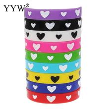 fashion 10 pcs multicolor Silicone Bracelet Bangle charm love heart Cuff Wristband Rubber Bracelet Jewelry For Women Men